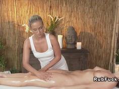 Beautiful brunette has lesbian massage