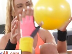 Attractive young lesbians make love after working out together