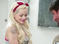 Blonde slut gives head to teacher in classroom
