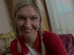 Sweet teen chick Emily plays with a fat dildo