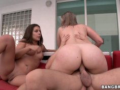Slutty babes Jynx Maze and Roxi fuck and ride big dick