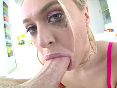 Natalia Starr gives nice titjob and slobbery blowjob