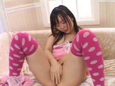 Perverse Japanese teen Sumire Kanno fucks herself with dildo