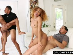 Ebony teen BFFS get to fuck their hung dads