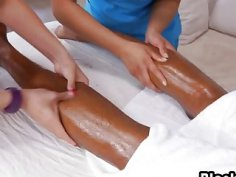 Two sweet Asian vaginas for a handsome black dude after nice massage