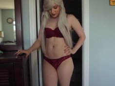 Cute Blonde In Red Lingerie Gets Fucked On Bed