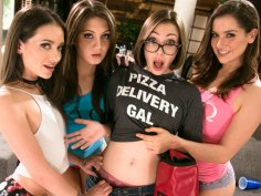 Hot college friends wilding with the pizza girl
