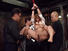 Asian slut has a toy session with the randy fellas