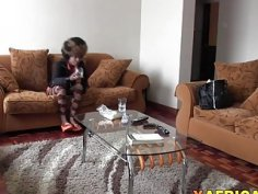 Horny Afro babe gets fucked all over the place