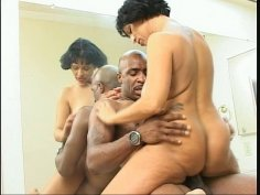 Fat and ugly granny Bambi is fucking passionately in an interracial porn movie