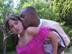 Horny brunette Nicole Parks pleasing black man at the backyard