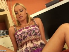 Tall blondie Kathia Nobili is a horny sexy and spoiled wanker
