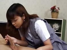 Eri Ueno in uniform shows pussy
