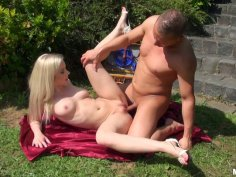 Pale but hot chick Nesty gets fucked mish on the green lawn