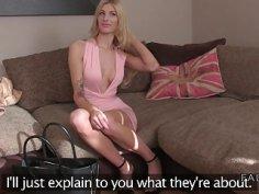 Sexy skinny blonde bangs fake agent uk