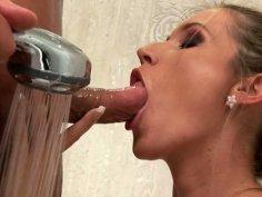 Hussy slut is giving head in a shower