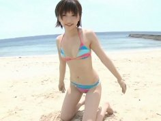 Pale skinny sexy model Ryoko Tanaka has some fun on the beach