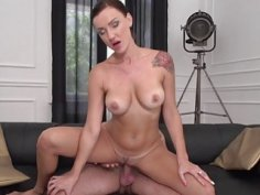 Brunette MILF nailed by a younger guy