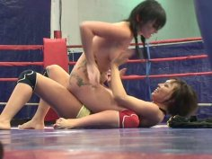 Feisty slut Selina is fighting on a ring performing good skills