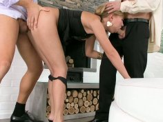 Spicy blondie Nastie sucks one tool and gets fucked by the other